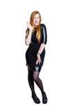 Красивая молодая женщина redhead на белой предпосылке Стоковые Фотографии RF