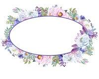 Красивая мята акварели цветет рамка Свадьба золота мяты приглашает шаблон Стоковые Фотографии RF