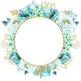Красивая мята акварели цветет рамка Свадьба золота мяты приглашает шаблон Стоковое Изображение