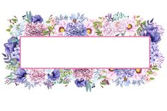 Красивая мята акварели цветет рамка Свадьба золота мяты приглашает шаблон Стоковое Изображение RF