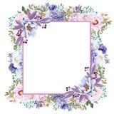 Красивая мята акварели цветет рамка Свадьба золота мяты приглашает шаблон Стоковые Изображения