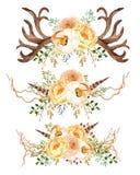 Красивая мята акварели цветет рамка Рамка цветка золота мяты! Стоковое Изображение