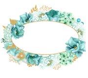 Красивая мята акварели цветет рамка Рамка цветка золота мяты! Стоковая Фотография