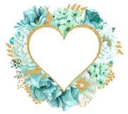 Красивая мята акварели цветет рамка Рамка цветка золота мяты! Стоковое фото RF