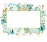 Красивая мята акварели цветет рамка Рамка цветка золота мяты! Стоковые Изображения