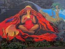 Красивая настенная роспись богини Pele стоковая фотография rf