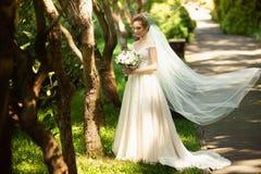 Красивая невеста идя в парк Вуаль свадьбы рассеивает ветра Портрет красоты невесты вокруг изумляя природы стоковые изображения rf