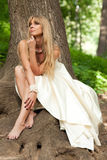 Красивая невеста около дерева Стоковые Изображения