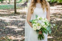 Красивая невеста свадьбы в park-3 стоковое изображение