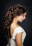 Красивая невеста с причёской свадьбы моды Стоковые Изображения RF