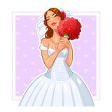 Красивая невеста с пуком роз иллюстрация вектора