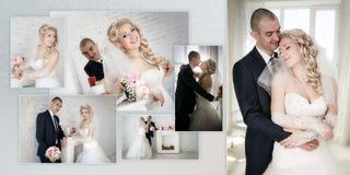 Красивая невеста groom на их день свадьбы около камина Стоковое Изображение