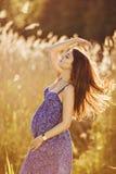 Красивая нежная беременная женщина усмехается и наслаждается солнечным летом Стоковые Фото