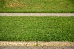 Красивая новая дорожка сделанная вымощая камня расположена среди зеленых gras Стоковые Фотографии RF