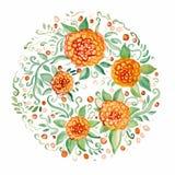 Красивая округлая форма флористического орнамента Стоковые Изображения RF
