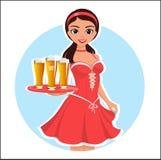 Красивая официантка девушки с стеклами пива в красном платье на знамени, плакате или stck иллюстрации голубой предпосылки холодны иллюстрация вектора