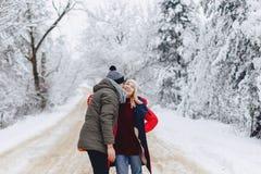 Красивая пара семьи идя на снежную дорогу в древесинах стоковые фото