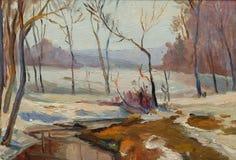 Красивая первоначально картина маслом ландшафта осени на холсте Стоковое Изображение RF