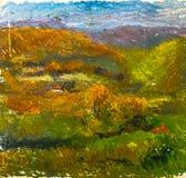 Красивая первоначально картина маслом ландшафта осени на холсте Стоковые Изображения RF