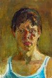 Красивая первоначально картина маслом портрета женщины на холсте Стоковое фото RF