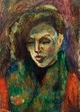 Красивая первоначально картина маслом портрета женщины на холсте Стоковые Изображения RF
