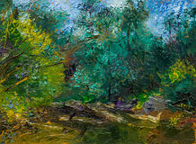 Красивая первоначально картина маслом с ландшафтом, рекой и деревьями Стоковые Изображения RF