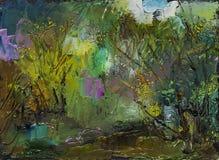 Красивая первоначально картина маслом с ландшафтом, рекой и деревьями Стоковые Изображения