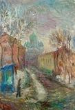 Красивая первоначально картина маслом улицы на холста Стоковые Фотографии RF