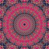 Красивая печать пестрого платка с богато украшенным флористическим круглым орнаментом в индийском стиле Стоковая Фотография