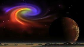 Красивая планета межзвёздного облака и чужеземца сток-видео