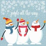 Красивая плоская рождественская открытка дизайна со счастливым снеговиком иллюстрация штока