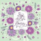 Красивая поздравительая открытка ко дню рождения с цветками Иллюстрация вектора