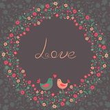 Красивая поздравительная открытка с цветками и птицами Стоковая Фотография RF