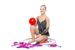 Красивая подростковая девушка гимнаста Стоковое фото RF