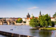 Красивая Прага над рекой Влтавы Стоковая Фотография RF
