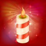 Красивая праздничная свеча Красная предпосылка с самыми интересными Пробел для дизайна также вектор иллюстрации притяжки corel Стоковая Фотография