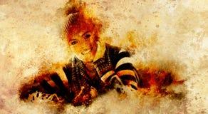 Красивая предпосылка женщины и структуры с cosmis играет главные роли Передний портрет Влияние искусства Стоковое Фото