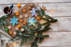 Красивая предпосылка с печеньями пряника Стоковое Фото