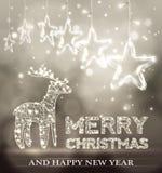 Красивая предпосылка bokeh рождества с облегчает северный оленя иллюстрация штока