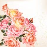 Красивая предпосылка в винтажном стиле с розовыми цветками иллюстрация вектора