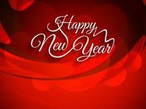 Красивая предпосылка красного цвета с элегантным дизайном текста счастливого Нового Года Стоковые Изображения