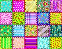 Красивая предпосылка сделанная от комплекта ткани соединяет с различными орнаментами для покрывала картина безшовная иллюстрация вектора