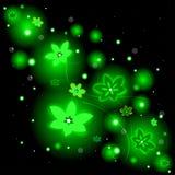Красивая предпосылка с накаляя цветками и sparkles Стоковые Фото