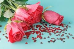 Красивая предпосылка с розами цветков Стоковая Фотография RF