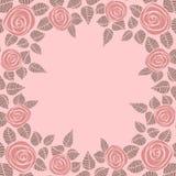 Красивая предпосылка с розовыми розами и место для Стоковое Фото