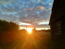 Красивая природа под небом захода солнца в России летом стоковая фотография rf