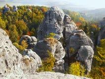 Красивая природа Geopark, богемский рай, эксцентричный городок утеса стоковое изображение rf
