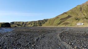 Красивая прогулка к точке зрения, которая красивый вид к леднику rdalsjokull ½ MÃ стоковые изображения rf