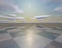 Красивая пустая сюрреалистическая предпосылка с небом, солнцем, шахматной доской Стоковое Изображение