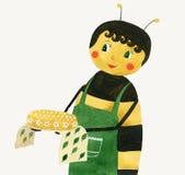 Красивая пчела с тортом меда Стоковые Изображения RF